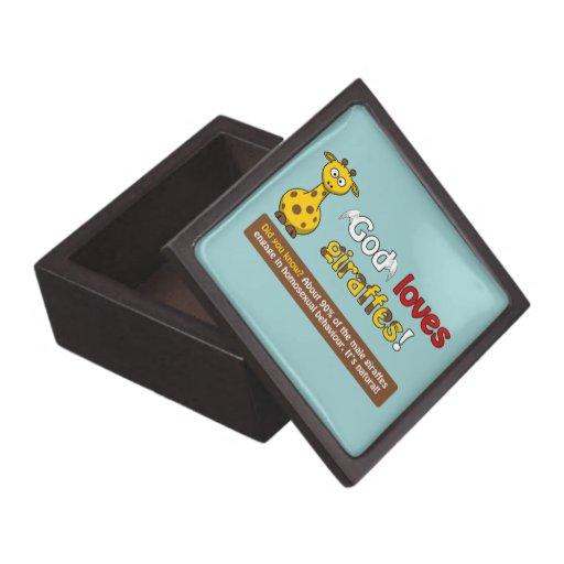 Dios ama jirafas cajas de recuerdo de calidad