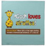 Dios ama jirafas servilletas imprimidas