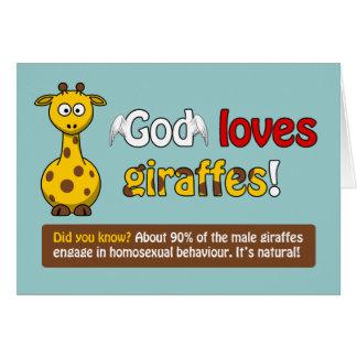 Dios ama jirafas tarjeta de felicitación