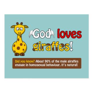 Dios ama jirafas tarjetas postales