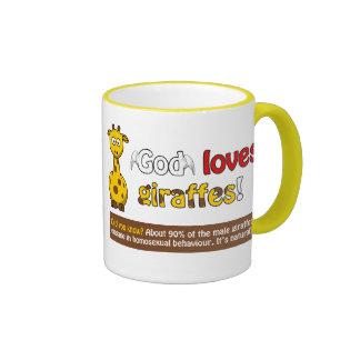 Dios ama jirafas taza de dos colores