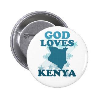 Dios ama Kenia Pin Redondo De 2 Pulgadas