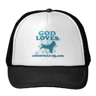 Dios ama la Isla de Navidad Gorras De Camionero