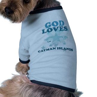 Dios ama las Islas Caimán Camisa De Mascota