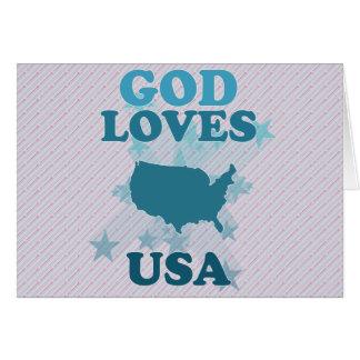 Dios ama los E.E.U.U. Tarjeta De Felicitación