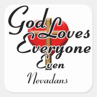 Dios ama Nevadans Pegatina Cuadrada