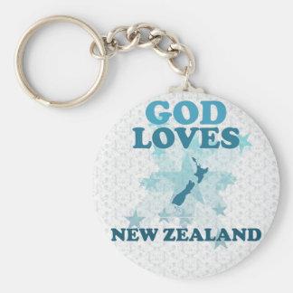 Dios ama Nueva Zelanda Llavero Redondo Tipo Pin