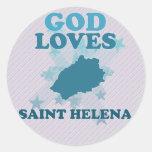 Dios ama Santa Helena Etiquetas Redondas