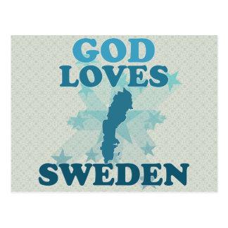 Dios ama Suecia Tarjetas Postales