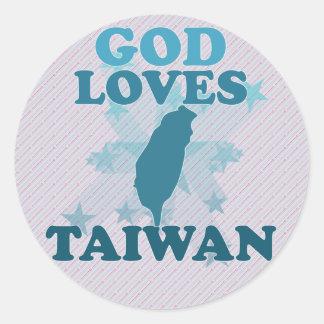 Dios ama Taiwán Etiqueta Redonda