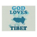 Dios ama Tíbet Tarjeta Postal