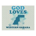 Dios ama Western Sahara Tarjeta Postal
