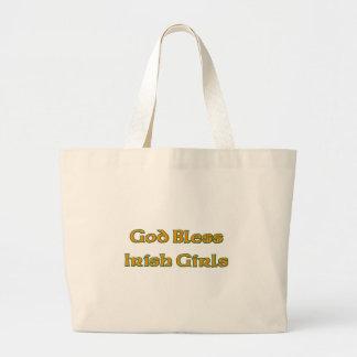 Dios bendice a chicas irlandeses bolsa tela grande