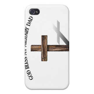 DIOS BENDICE A MI PAPÁ MILITAR con la cruz rugosa iPhone 4/4S Carcasas