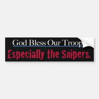 Dios bendice a nuestras tropas especialmente los pegatina para coche