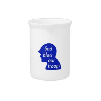 Dios bendice a nuestras tropas jarras de beber