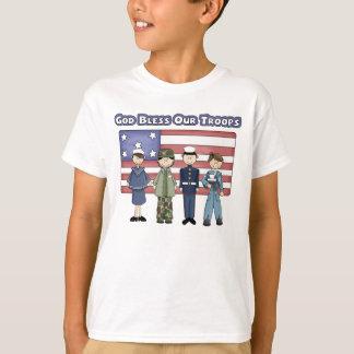 Dios bendice a nuestras tropas - la camiseta del playeras