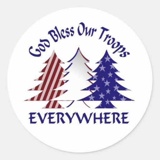 Dios bendice a nuestras tropas pegatina redonda