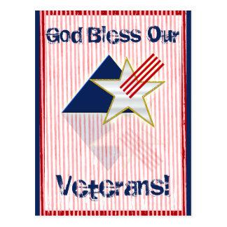 ¡Dios bendice a nuestros veteranos Postales