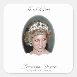 Dios bendice a princesa Diana Pegatina Cuadradas