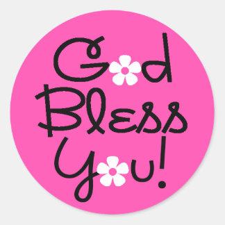 Dios bendice al pegatina rosado y negro usted