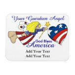 Dios bendice América - ángel de guarda - SRF Imán Flexible