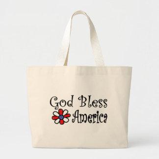 Dios bendice América Bolsa Tela Grande