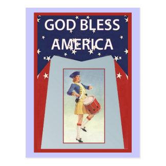 Dios bendice América, chica del batería Tarjetas Postales