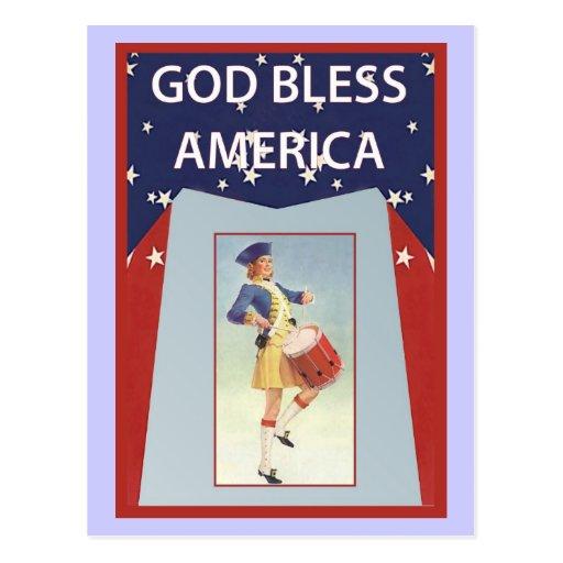 Dios bendice América, chica del batería Tarjeta Postal