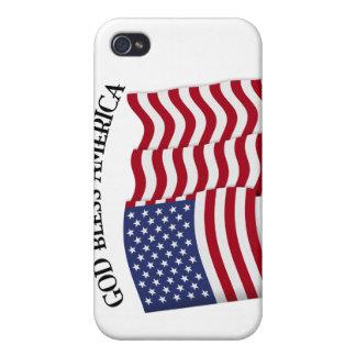 DIOS BENDICE AMÉRICA con la bandera de los E.E.U.U iPhone 4/4S Carcasas