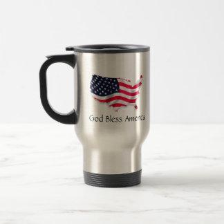 Dios bendice América con la bandera del mapa Taza De Viaje De Acero Inoxidable