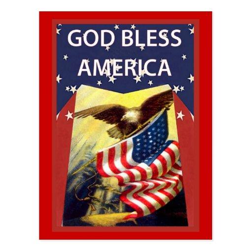 Dios bendice América, la bandera y el águila calva Postales
