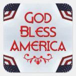 Dios bendice América Pegatina Cuadradas Personalizadas