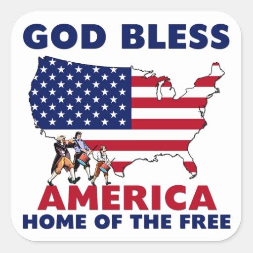 Dios bendice América Calcomanías Cuadradass Personalizadas