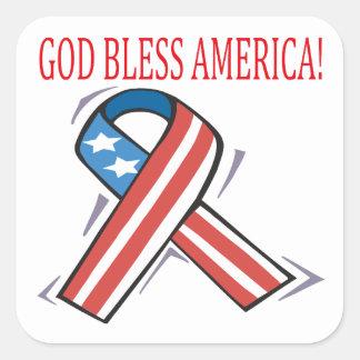 Dios bendice América Pegatina Cuadrada