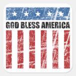 Dios bendice América Pegatina Cuadradas
