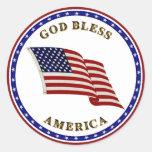 Dios bendice América Pegatina Redonda
