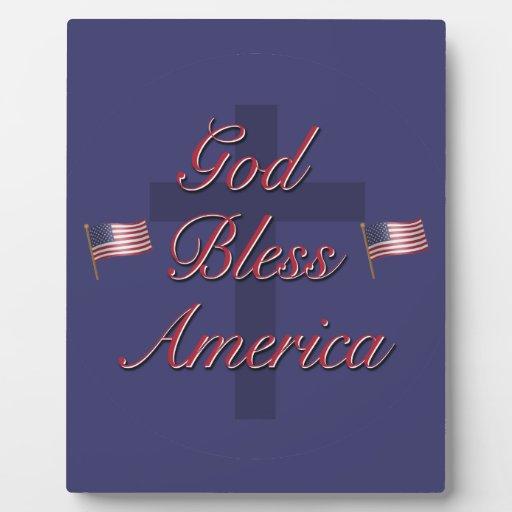 Dios bendice América Placas Para Mostrar