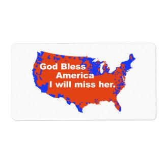 Dios bendice América, yo la faltará - la elección Etiquetas De Envío