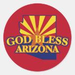 Dios bendice Arizona Pegatina Redonda