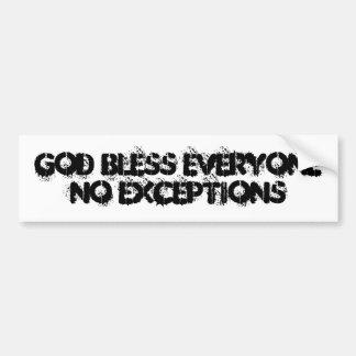 Dios bendice cada uno ningunas excepciones pegatina para auto