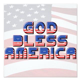 """Dios bendice diseño del texto de América Invitación 5.25"""" X 5.25"""""""
