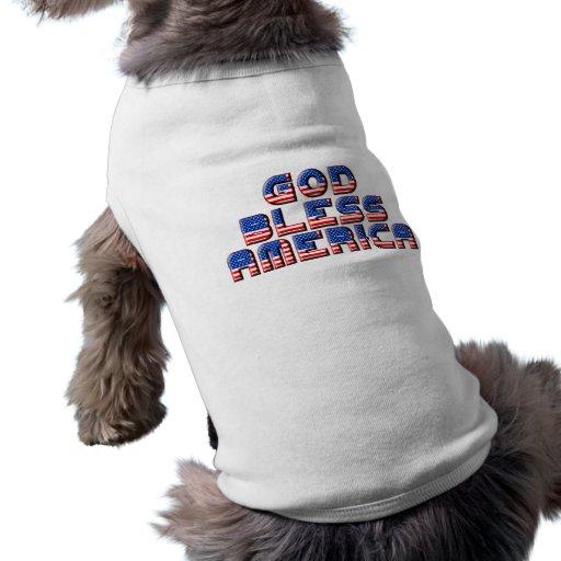 Dios bendice diseño del texto de América Ropa Para Mascota