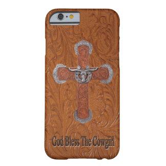 Dios bendice el caso del iPhone 6 del cuero de la Funda De iPhone 6 Barely There