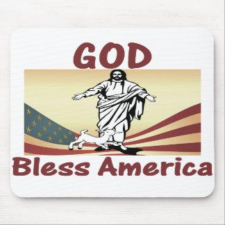 Dios bendice el cojín de ratón de América Alfombrillas De Ratón