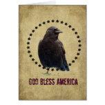 Dios bendice el cuervo y las estrellas de América Tarjeton