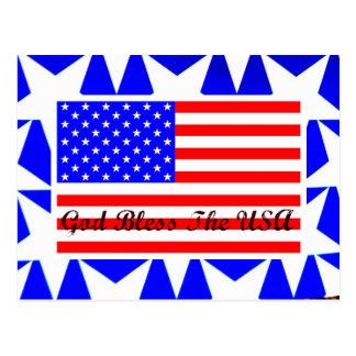 Dios bendice el diseño patriótico de la bandera am postales