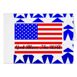 Dios bendice el diseño patriótico de la bandera am tarjeta de felicitación