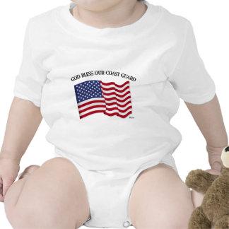 DIOS BENDICE EL GUARDACOSTAS con y la bandera de l Trajes De Bebé