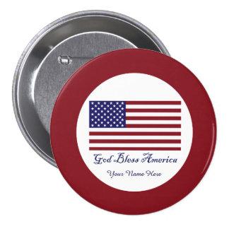 Dios bendice la bandera de América Pin Redondo De 3 Pulgadas
